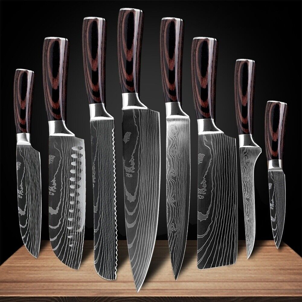 Kitchen Chef's Knife Set Stainless Steel Damascus Pattern Sharp Cleaver Gift
