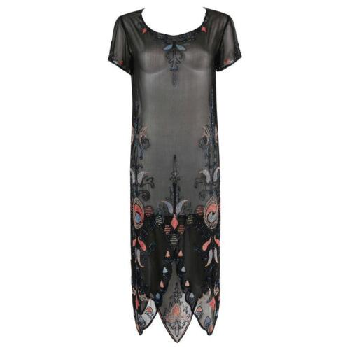 COUTURE c.1920's Black Silk Georgette Floral Glass