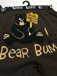 BEAR-BUM-Men-LG-36-38-Brown-Boxer-Brief-Fun-Valentine-Sleepwear-Sexy-Lazy-One