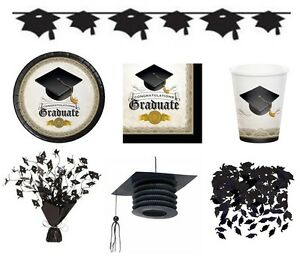 Cap Gown Graduation Party Range Tableware Banners Balloons