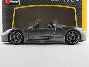 Bburago-18-21076-Porsche-918-Spyder-2013-en-gris-metalizado-1-24-nuevo-en-el-embalaje-original
