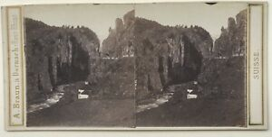 Suisse Canton Ticino Foto A. Braun Vintage Stereo Albumina c1865