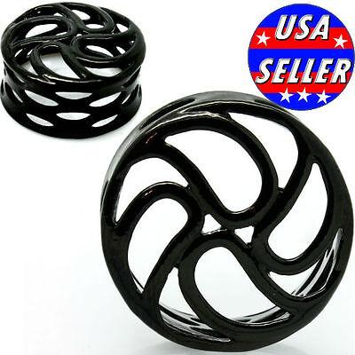 BLACK STEEL TRIBAL ORBITAL SWIRL CAGE FLESH TUNNELS-Ear Gauges-Ear Plugs