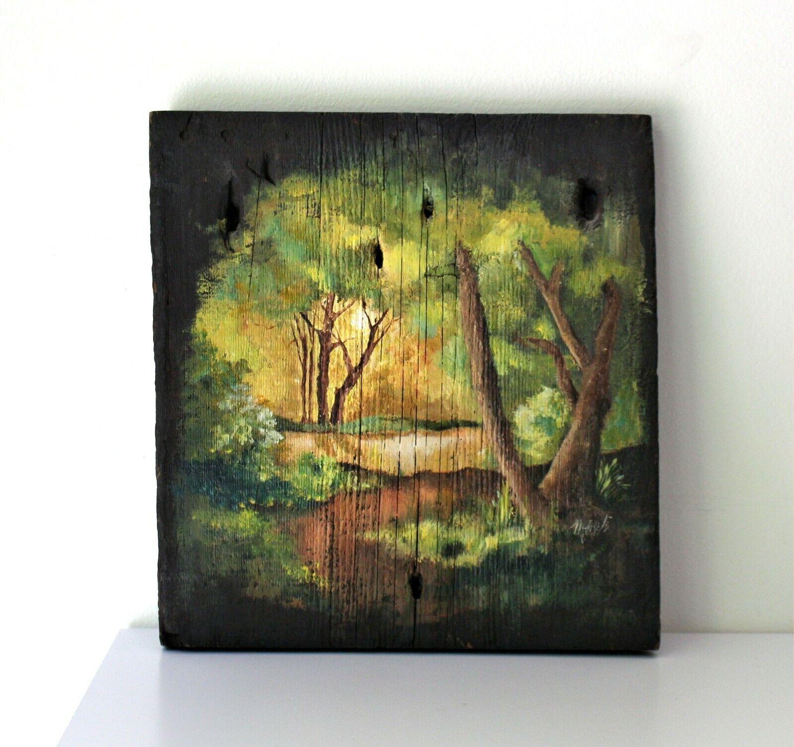 vintage landscape painting on rustic barn wood cabin farmhouse decor 2