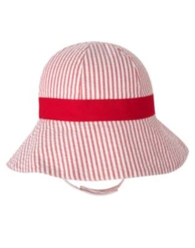 GYMBOREE TOO CUTE TULIP SEERSUCKER w// RED BOW SUN HAT 0 3 6 12 18 24 NWT-OT