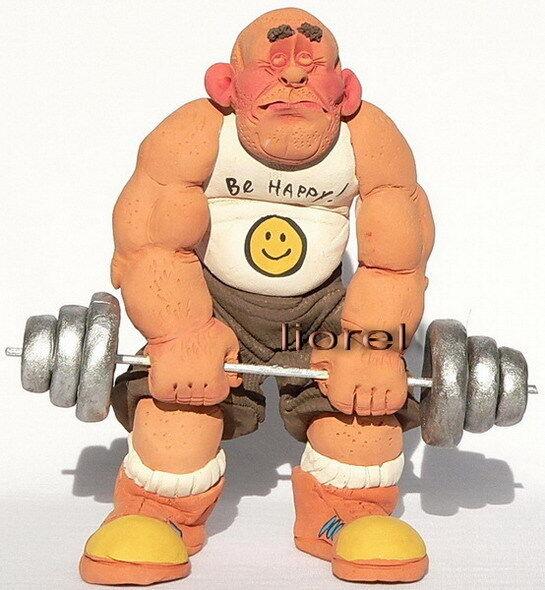 Bodybuilder Figurine Gewicht Anheben fitter Protein Creatin Big Muscles Gym