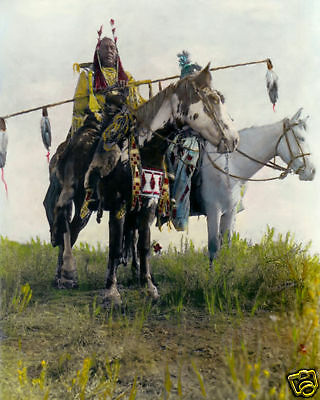 """BIRD ON THE GROUND NATIVE AMERICAN INDIAN 1908 8x10"""" HAND COLOR TINTED PHOTO"""
