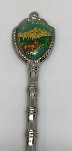 Fort-USA-Collectible-Souvenir-Mount-Rainier-National-Park-Silver-Tone-Spoon-VTG