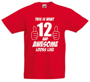 12 and awesome 12th birthday gift t shirt for 12 year