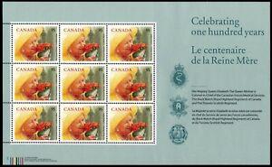 CANADA-1856-Queen-Mother-Elizabeth-100th-Birthday-034-Miniature-Pane-034-pa52640