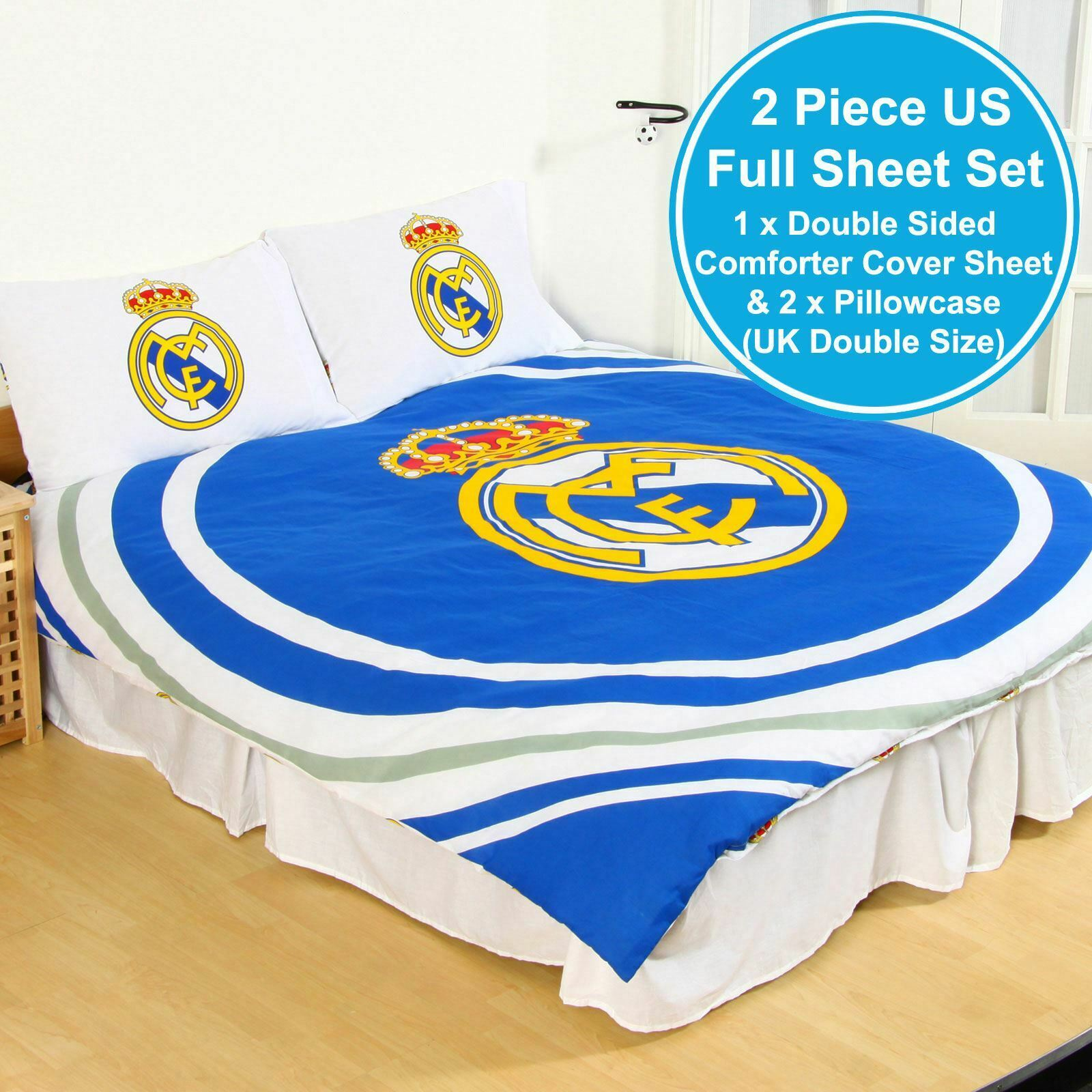 REAL MADRID CF UK DOUBLE   US FULL UNFILLED DUVET COVER & PILLOWCASE SET