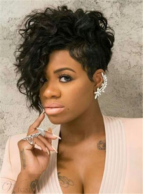 Hot Pixie One Side Part Short Messy Kinky Curly Synthetic Hair With