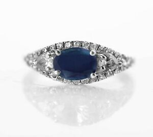 Sterling Silver Natural Blue Sapphire Ring Gemstone Solitaire Size 4-11