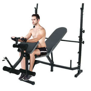 Adjustable-Weight-Bench-Press-Barbell-Rack-Exercise-Strength-Training-Workout