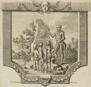 Chodowiecki (1726-1801). un cavaliere insegna tre scarse; pressione grafico