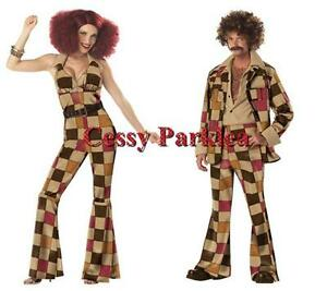 Disco-Men-amp-Girl-70s-80s-Ladies-Jumpsuit-amp-Men-039-s-Leisure-Suit-Couple-039-s-Costumes