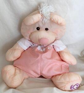 1986 Fisher Price Peach Puffalump Teddy Bear Plush Animal