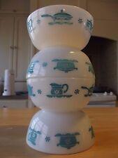 4 RARE! Hazel Atlas Kitchen Aids Cereal Bowls, milk glass, turquoise, blue, vtg