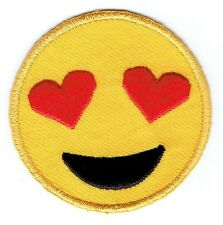 Iron On Embroidered Applique Patch - Smiley Face Emoji Heart Eyes
