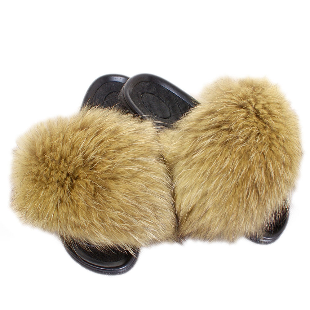 Genuine Yellow Raccoon Fur Slides NEW Natural Fur Slippers Sandals With Real Fur