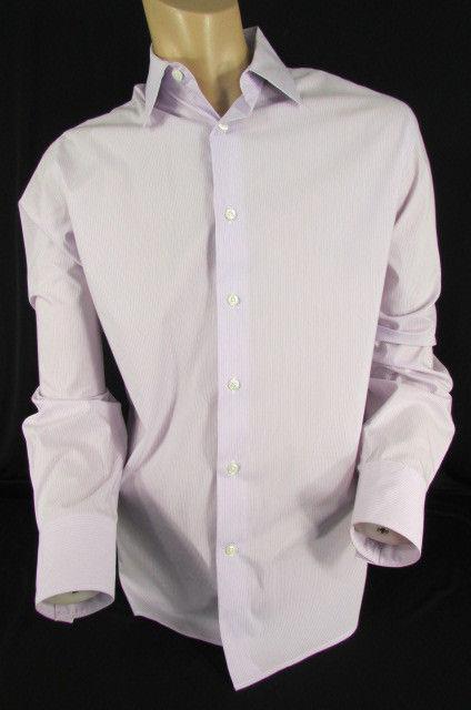 Trendy Herren Lavendel Weiß Streifen Hemd Langarm Große 16.5 42