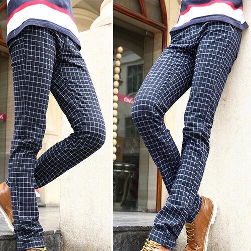 New Men's Linen Cotton Plaid Warm Straight Leg Slim Fit Skinny Pants Trousers