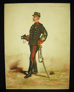 A-Legras-Commander-D-039-Artillery-of-Fortress-Chromo-c1880-Uniform-Military