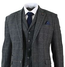 Mens 3 Piece Classic Tweed Herringbone Check Grey Navy Slim Fit Vintage Suit