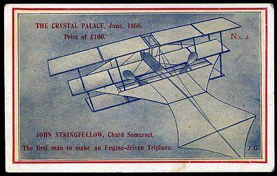 1912 John Stringfellow Triplane Chard Somerset Postcard No. 2
