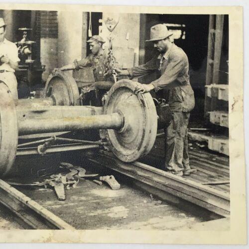 Details about  /Vintage Black and White Photo Reprint Railcar Wheels Factory Train Manufacturer