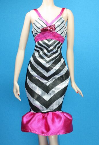 Barbie Fashionistas Black Silver Pink Graphic Print Stripe Print Dress