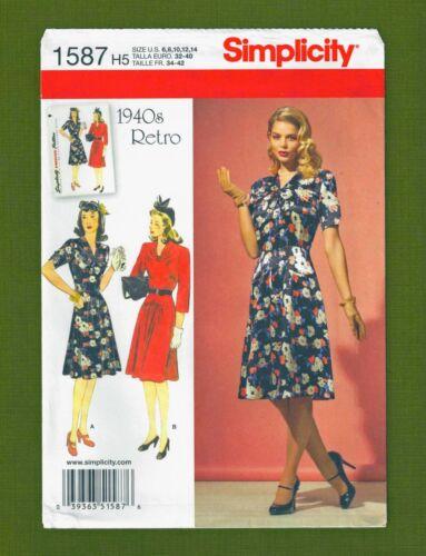 1940s Sewing Patterns – Dresses, Overalls, Lingerie etc   Retro 1940s Dresses Sewing Pattern~2 Variations (Sizes 6-14) Simplicity 1587  $5.85 AT vintagedancer.com