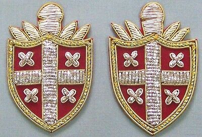 6 Hand-Embroidered Heraldic Appliques Coat of Arms