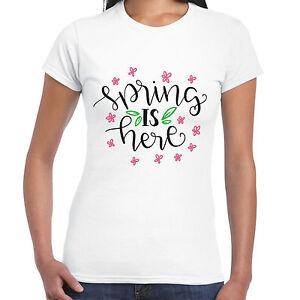 Spring-Is-Here-Donna-T-Shirt-REGALO-DIVERTENTE-Sole-Fiore-Maglietta
