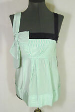 MARC by Marc JACOBS mint green ivory polka dot 100% silk tank top blouse bow 8