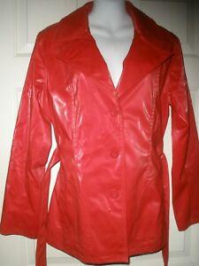 779-BB-Dakota-Red-Trench-Rain-Coat-Jacket-Faux-Vegan-Leather-M-Belted