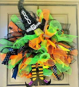 Halloween-Witch-Wreath-X-Large-36-034-Handmade-Deco-Mesh-Leg-amp-Hat-Door-Wall-Decor