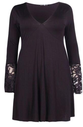 Nouveau Haut Tailles Plus plongeant détail dentelle Femmes Robe Patineuse Haut UK 16-24