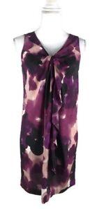 Ann-Taylor-Loft-Womens-Size-4P-Shift-Dress-Sleeveless-Ruffle-Front-Purple-Black