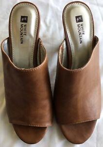 Brand-New-Ladies-White-Mountain-Date-night-Open-Toe-Tan-Heel-Shoes-Size-Uk-6