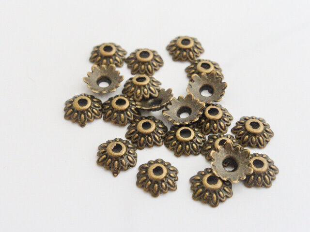 50 x Tibetan Style Flower Bead Caps Endbeads Antique Bronze 8mm, LF NF