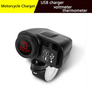 Waterproof-Phone-2-1A-Dual-USB-Power-Charger-Digital-Voltmeter-LED-Thermometer