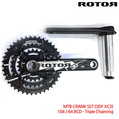 CLEARANCE ROTOR 3DF XC3 TRIPLE ROUND CHAINRING CRANKSETS for XC-MTB