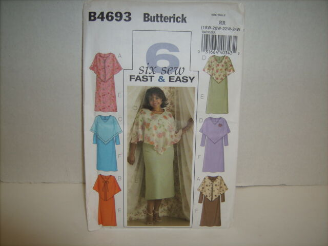 Butterick B4693 Fast & Easy Poncho & Dress SZ 18W- 24W UNCUT FACTORY FOLDED