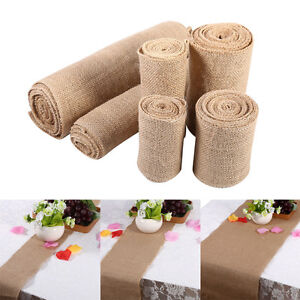 Lace-Table-Runner-Hessian-Jute-Burlap-Roll-Vintage-Wedding-Party-Chair-Decor-AF