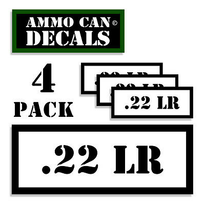 """22 LR Ammo Can 4x Labels for Ammunition Case 3/"""" x 1.15/"""" stickers decal 4 pack WT"""