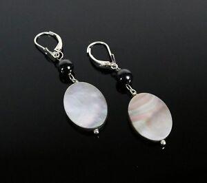 """100% Vrai Vintage .925 Sterling Silver Abalone Shell De Perles Perles 2"""" Dangle Earrings 5.8 G-afficher Le Titre D'origine à Vendre"""