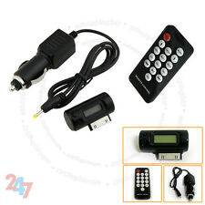 New Black Car FM Mini Transmitter With Charger and Remote for Ipod MP3 S247