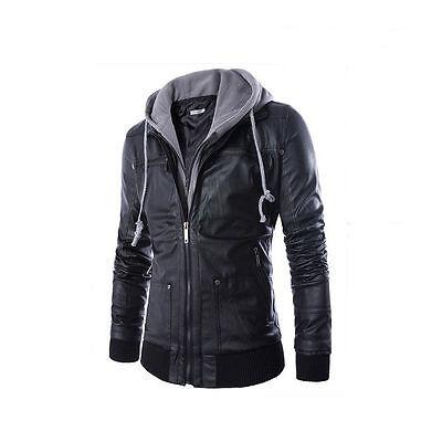 Stylish Men's Slim Warm Motorcycle Bike Hoodie Coat Jacket Leather Outwear New
