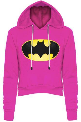 Womens Ladies Batman Fleece Long Sleeve Crop Jumper Sweater Hoody Sweatshirt Top